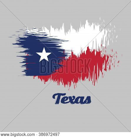 Brush Style Color Flag Of Texas, Blue Containing A Single Centered White Star. The Remaining Field I