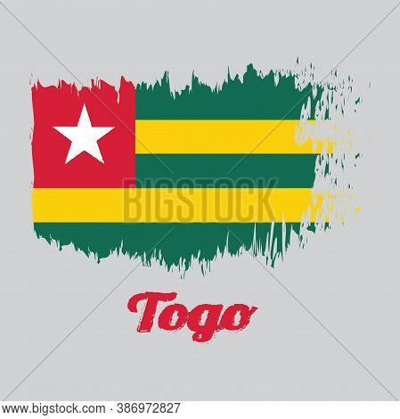 Brush Style Color Flag Of Togo, Five Equal Horizontal Bands Of Green Alternating With Yellow; With A