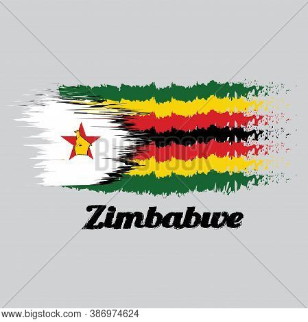 Brush Style Color Flag Of Zimbabwe, Seven Horizontal Stripes Of Green Yellow Red Black With A Black-