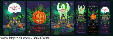 Halloween Party Posters Set With Tickets Invitations. Halloween Flyers With Creepy Atmosphere - Ghos