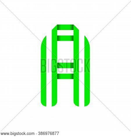 Striped Font, Modern Trendy Alphabet, Letter A Folded From Green Paper Tape, Vector Illustration