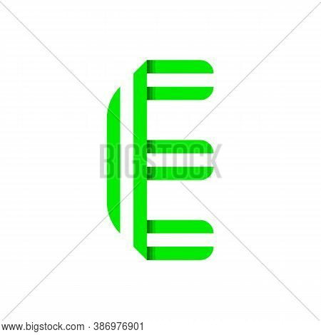 Striped Font, Modern Trendy Alphabet, Letter E Folded From Green Paper Tape, Vector Illustration
