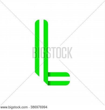 Striped Font, Modern Trendy Alphabet, Letter L Folded From Green Paper Tape, Vector Illustration