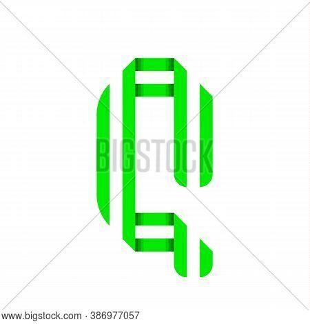 Striped Font, Modern Trendy Alphabet, Letter Q Folded From Green Paper Tape, Vector Illustration