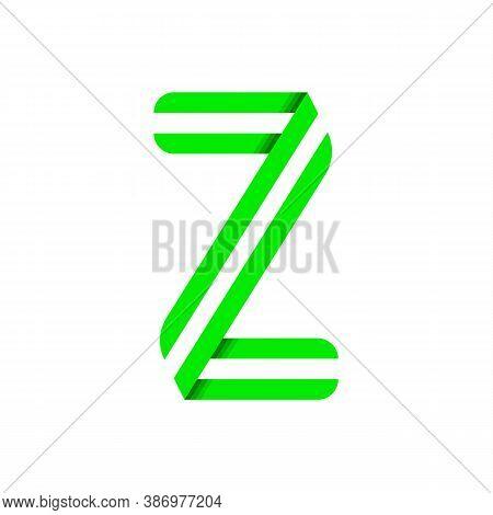 Striped Font, Modern Trendy Alphabet, Letter Z Folded From Green Paper Tape, Vector Illustration