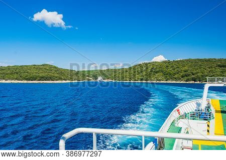 Ferry Boat Trail On Adriatic Sea Between Islands Of Cres And Krk In Croatia