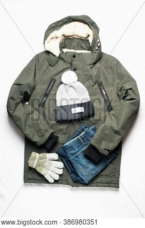 Boy Man Autumn Winter Spring Clothes Set On A White Background. Beauty Fashion Concept. Flat Lay,
