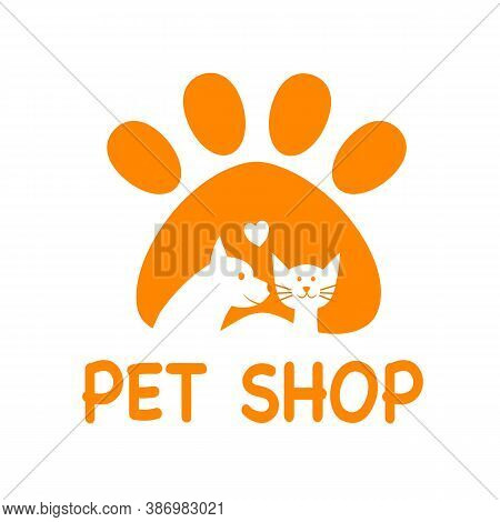 Pet Shop Logo Design Template For Website Page And Mobile App On White Background. Dog And Cat Icon,
