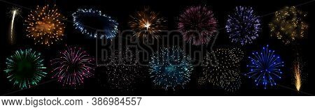 Sparkling Firework Festive, Holiday Carnival Firecracker Explosion Bang And Abstract Burst In Night