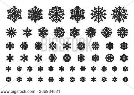 Snow Crystal, Winter Snowy Weather And Cold Symbol. Snowflakes Of Different Shapes And Sizes Vector