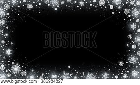 Snowed Border, Shiny White Snowflakes And Frosted Winter Card 16x9 Vector Illustration Background