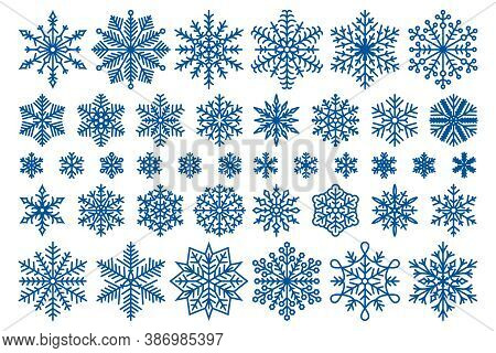 Cold Snow, Christmas Decoration Ornaments And Snowflake Crystal Vector Symbols Set
