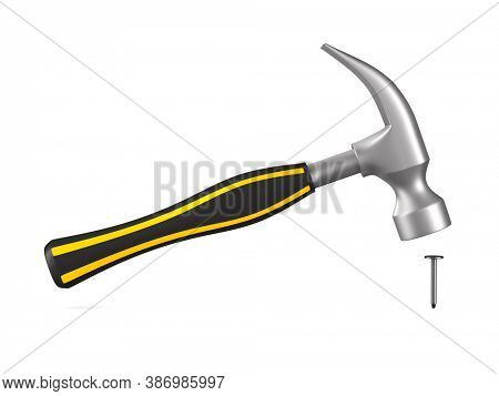 hammer and nail on white background. Isolated 3D illustration