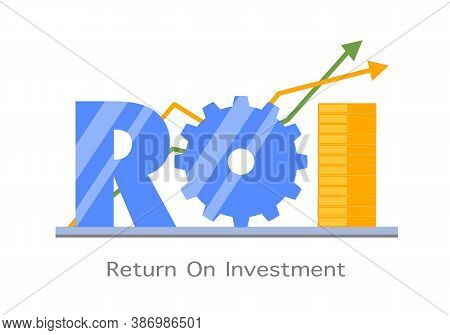 Return On Investment Roi Flat Design Vector Illustration. Business Arrow Target Direction Concept To
