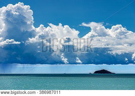 Tino And Tinetto Island With Cumulonimbus And Torrential Rain, Near Porto Venere Or Portovenere, Med