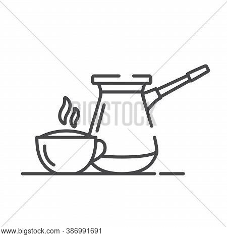 Turkish Coffee Pot And Cup. Hot Drink. Line Art Outline Vector.