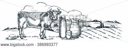 Milk Farm, Dairy Products, Hand Drawn Sketch Vector Illustration. Cow, Bottle, Glass Jug On Fields L