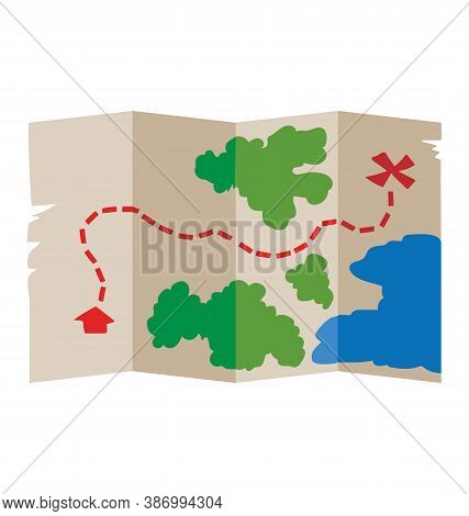 Treasure Map With Red X - Top Down View - Flat Vector Isolated