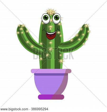 Fanny Cartoon Green Cactus Plant Vector Illustration With Eyes And Smily Cartoon Mouth In Violet Flo