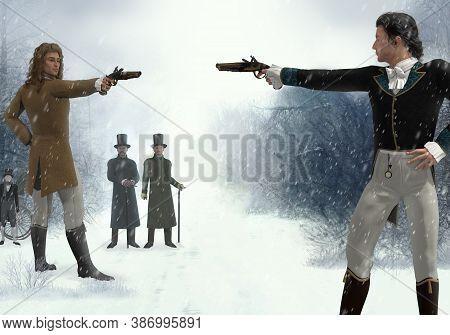 Two Victorian Men Facing Each Other In A Duel With Flintlock Pistols, In A Barren Winter Landscape,