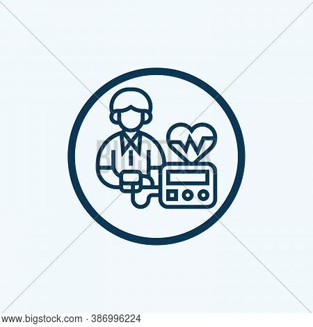 Blood Pressure Icon Isolated On White Background From Blood Donation Collection. Blood Pressure Icon
