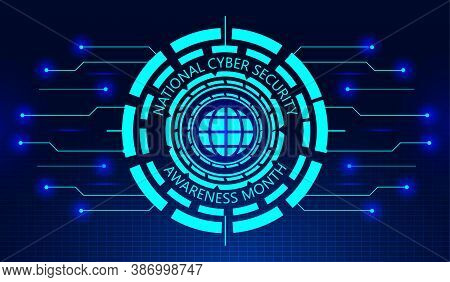 National Cyber Security Awareness Month Concept Vector. It Is Observed In October In Usa. Hud Elemen