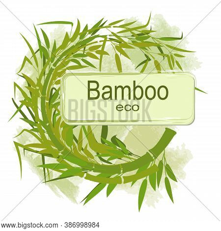 Round Decorative Frame Made Of Bamboo Stems And Leaves On A Watercolor Background. A Sign For Your T