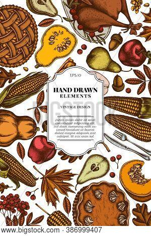 Card Design With Colored Pumpkin, Fork, Knife, Pears, Turkey, Pumpkin Pie, Apple Pie, Corn, Apples R