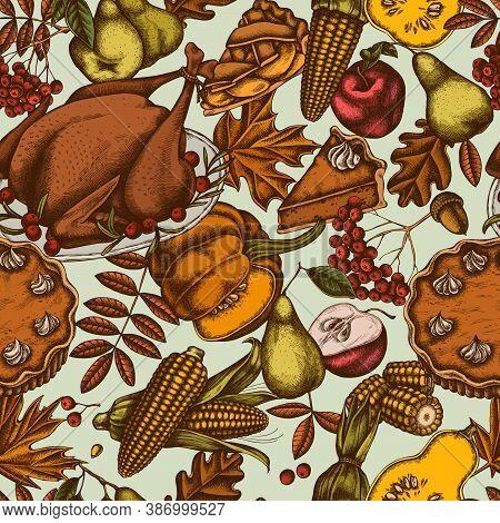 Seamless Pattern With Hand Drawn Colored Pumpkin, Fork, Knife, Pears, Turkey, Pumpkin Pie, Apple Pie