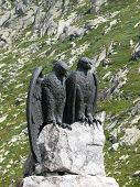 Sculpture at the Gothard Pass one of the crossings of the Alps poster
