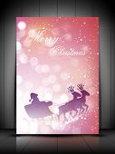 Santa Clause sleigh and reindeer's on snowflake background for Merry Christmas . EPS 10. poster