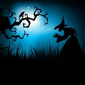 Halloween night background with dead tree and witch silhouette. EPS 10. poster