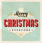 Vintage Christmas Card - Vector EPS10. Grunge effects can be easily removed for a brand new, clean s