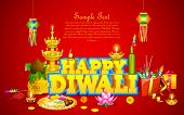 illustration of decorated diwali diya with gift box and sweet poster