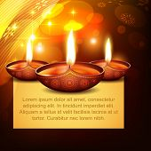 vector diwali diya on stylish background poster