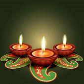 stylish glowing diwali diya background poster