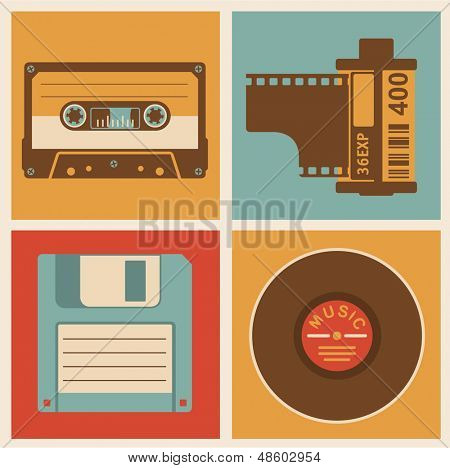 poster of Retro media objects. Vector design elements set.