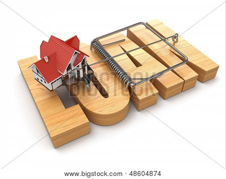 Concept of loan. House and mousetrap. 3d
