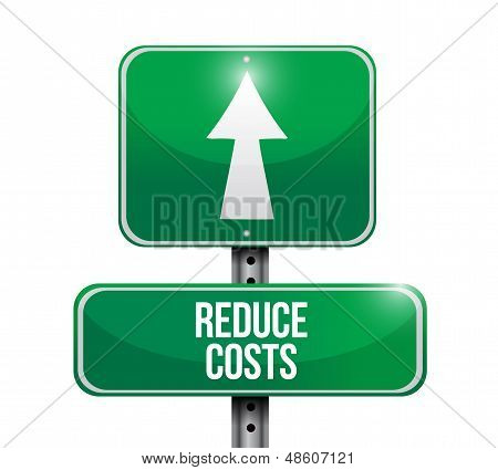 Reduce Costs Road Sign Illustration Design