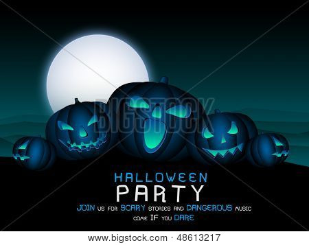 Poster, banner or background for Halloween Party Night with scary pumpkins.