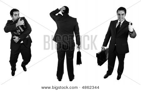 Businessmans. Black And White Version. Isolated On White