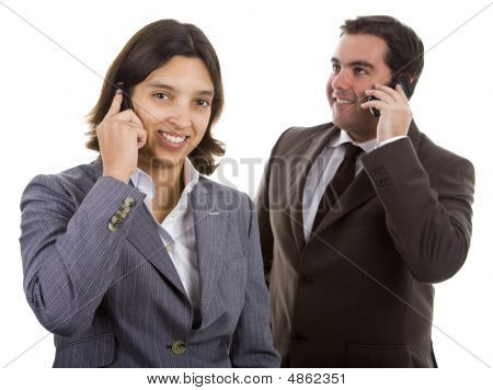 Smiling Business People On The Phone. Over White Background