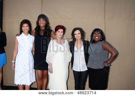 LOS ANGELES - JUL 29:  Julie Chen, Aisha Tyler, Sharon Osbourne, Sarah Gilbert, Sheryl Underwood arrives at the 2013 CBS TCA Summer Party at the private location on July 29, 2013 in Beverly Hills, CA