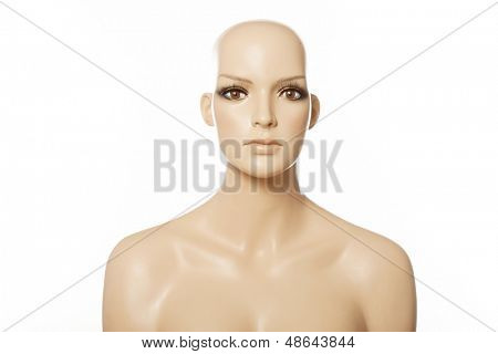 Head of a female mannequin face on white