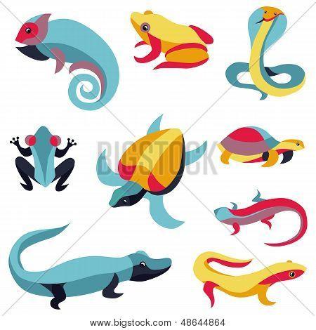Vector Set Of Design Elements - Reptiles