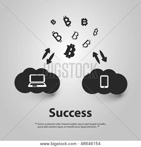Success - Vector Illustration of Bitcoin Designs