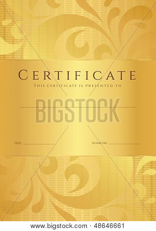 Gold Certificate / Diploma template with floral (swirl, scroll) pattern
