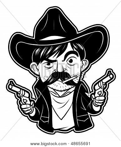 black and white clipart cowboy