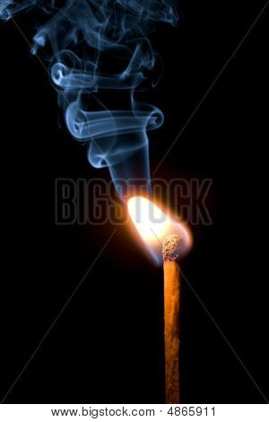 Match Burning With Smoke Isolated