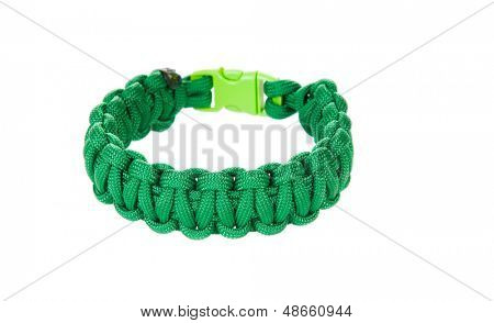 Paracord survival Bracelet using a Cobra weave in Kelly green cord poster